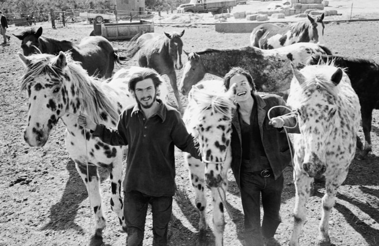 Image: Two members of the Manson Family, Pat, left, and Rocky hold three Appaloosa horses on March 19, 1971 at the George C. Spahn ranch where Manson and his followers once camped.
