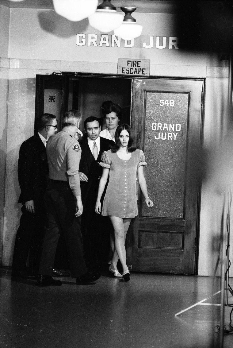 Image: Susan Atkins leaves the grand jury room after testifying against Manson, in Dec. 1969.