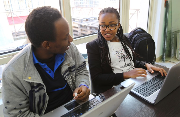 Image: Esther Muchei, 27, right, is a student at the Moringa School in Nairobi.