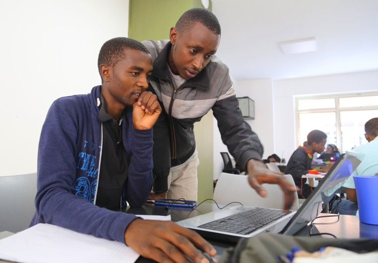 Image: Two students study at the Moringa School in Nairobi