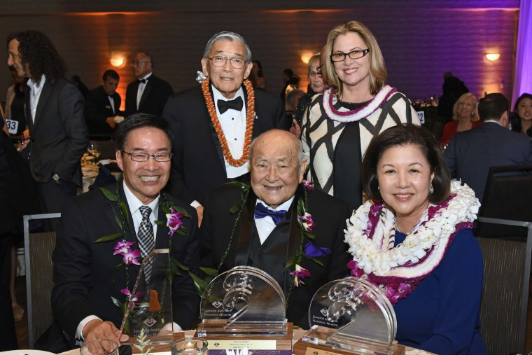 Bruce Kaji and fellow 2017 JANM gala honorees (seated), with Norman Mineta, chair of the JANM board of trustees and Ann Burroughs, JANM president and CEO.