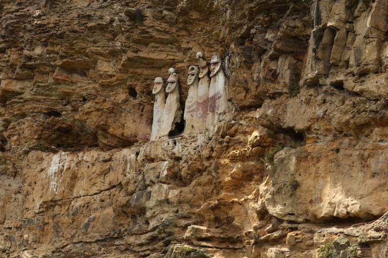 Image: Sarcophaguses made of clay from the Chachapoyas culture are seen at the Karajia archeological site, in Chachapoyas, Peru