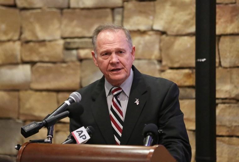 Image: Judge Roy Moore speaks as he participates in the Mid-Alabama Republican Club's Veterans Day Program in Vestavia Hills