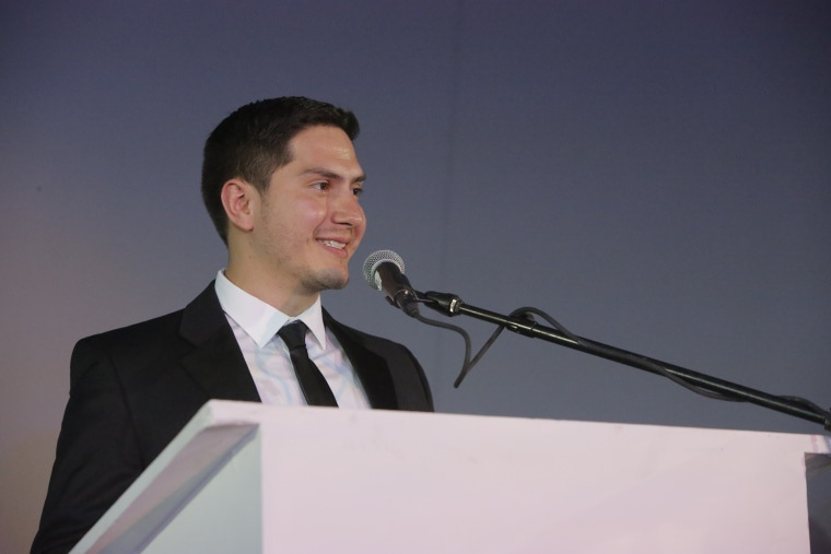 """John Gomez, a New York based software engineer and DACA recipient, was honored as """"Alumnus of the Year"""" at C4Q's Tech bash on October 2017 at MoMa PS1."""