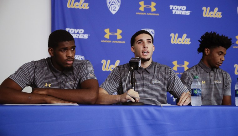 Image: UCLA basketball player LiAngelo Ball reads his statement during a news conference