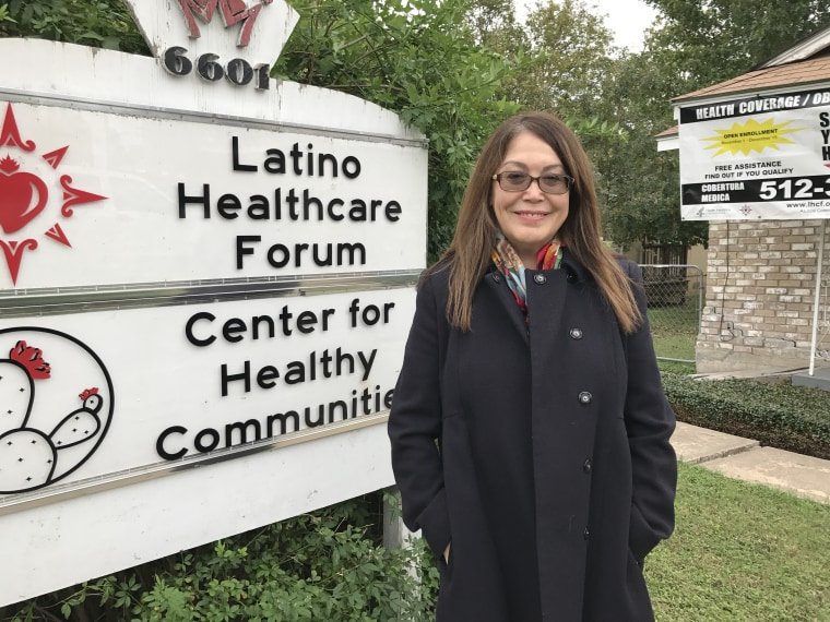 Jill Ramirez, CEO of Latino HealthCare Forum, stands in front of group's Austin office in November 2017. The group is enrolling Latinos in Obamacare but its federal funding was drastically cut.