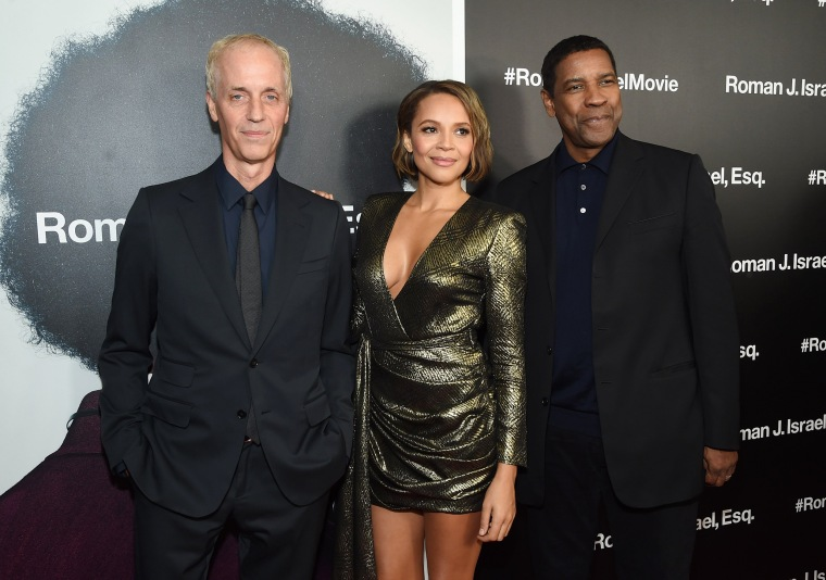 "Image: Dan Gilroy, Carmen Ejogo and Denzel Washington attend the screening of ""Roman J. Israel, Esq."""
