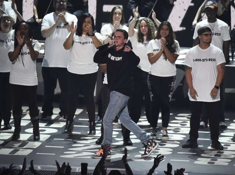 "Image: Logic performs ""1-800-273-8255"" at the MTV Video Music Awards"