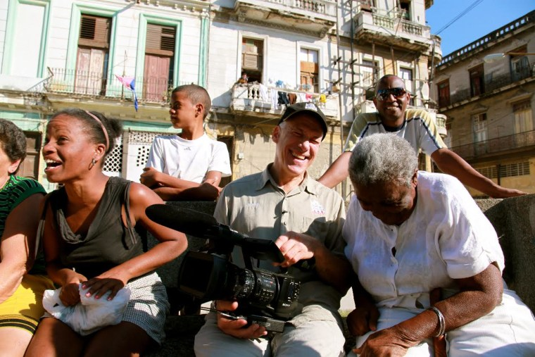 Filmmaker John Alpert with friends in Barrio Cayo Hueso, Havana, Cuba.