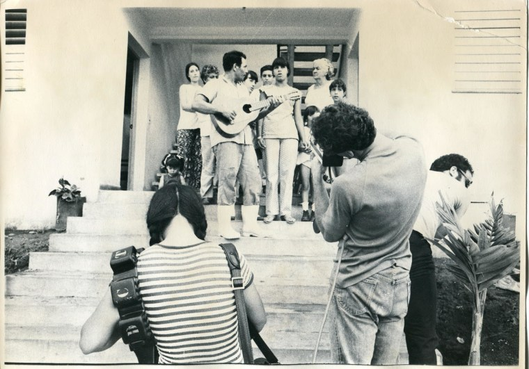 Jon Alpert and his wife filming in a village outside Havana, 1974.