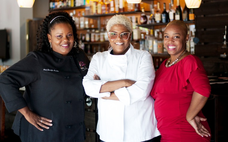 Image: Jennifer Booker, Deborah VanTrece, Tiffanie Barriere at Twisted Soul, VanTrece's restaurant in Atlanta.