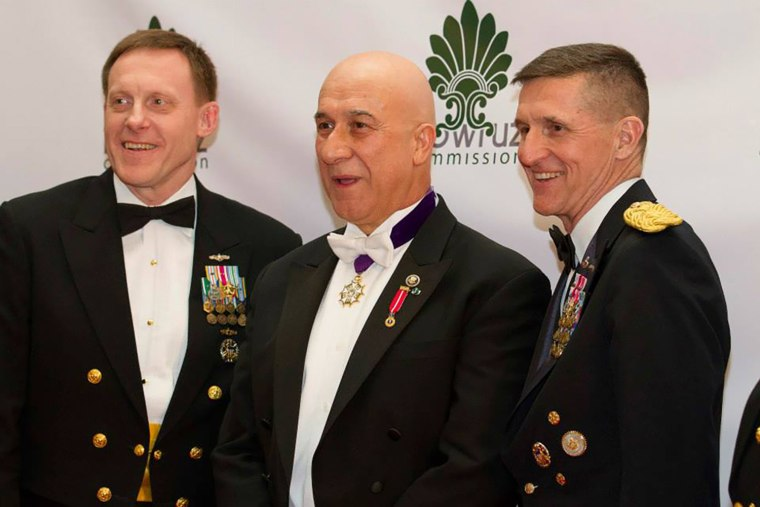Image: Adm. Mike Rogers, director of the NSA, Bijan Kian, center, and Mike Flynn at the fifth annual Nowruz Commission
