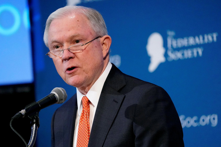 Image: U.S. Attorney General Jeff Sessions speaks at the Federalist Society's 2017 National Lawyers Convention in Washington