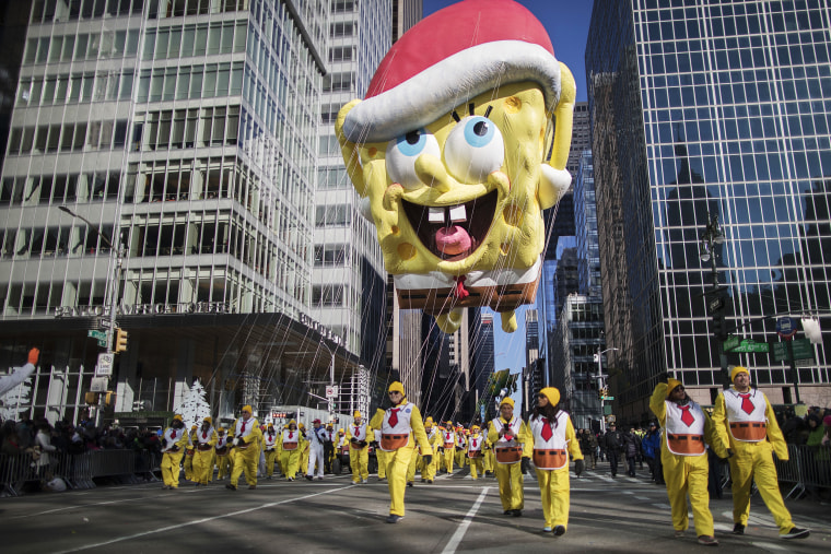 Image: The SpongeBob SquarePants float moves down Sixth Avenue