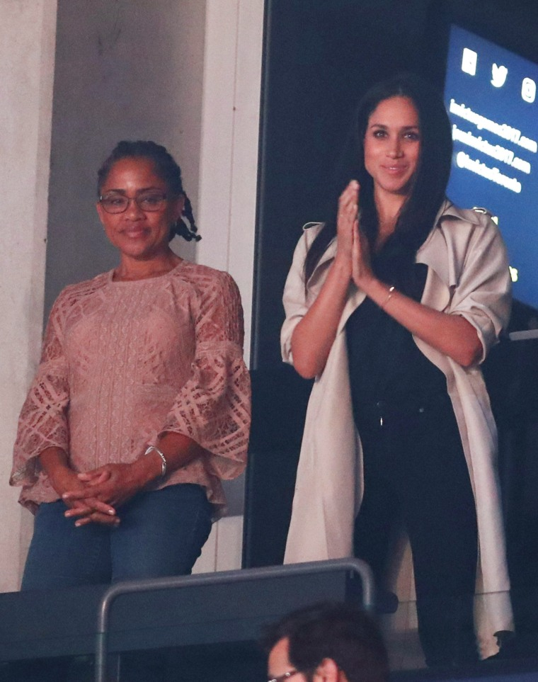 Image: Meghan Markle, girlfriend of Britain's Prince Harry watches  the closing ceremony for the Invictus Games in Toronto
