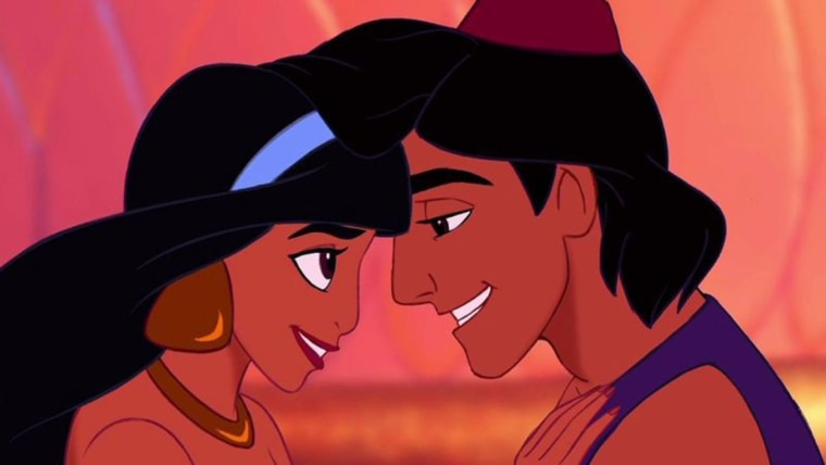 "Princess Jasmine (Linda Larkin) and Aladdin (Scott Weinger) in a scene from Disney's ""Aladdin"" (1992)."