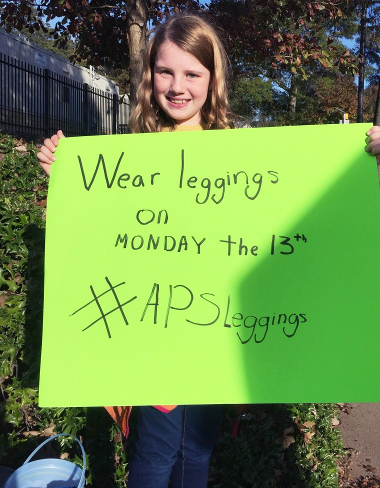 Falyn Handley, 10, is trying to change her school district's student dress code policy on leggings in Atlanta.