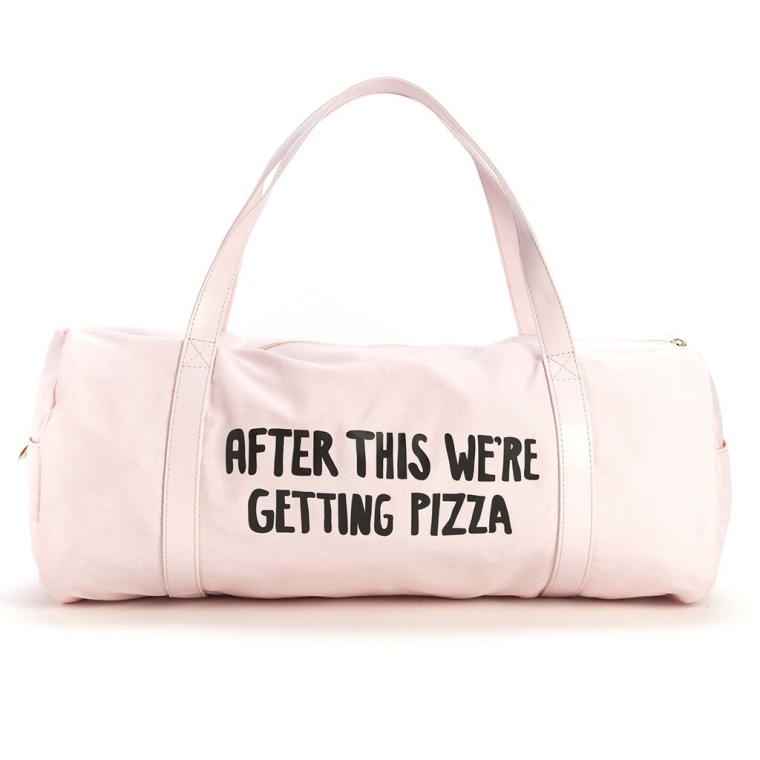 Pink Duffel with pizza tag