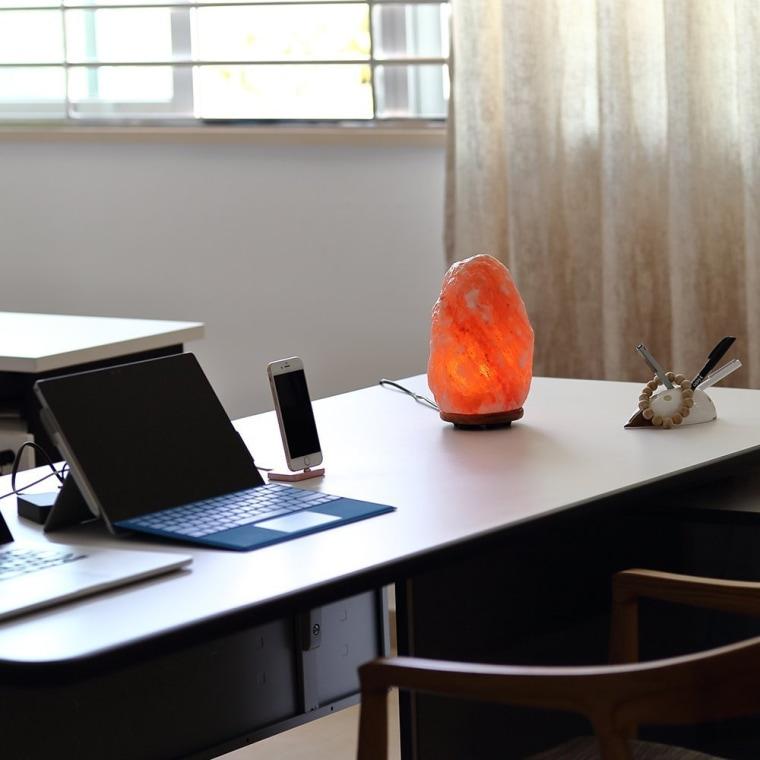 Himalayan salt lamp on table