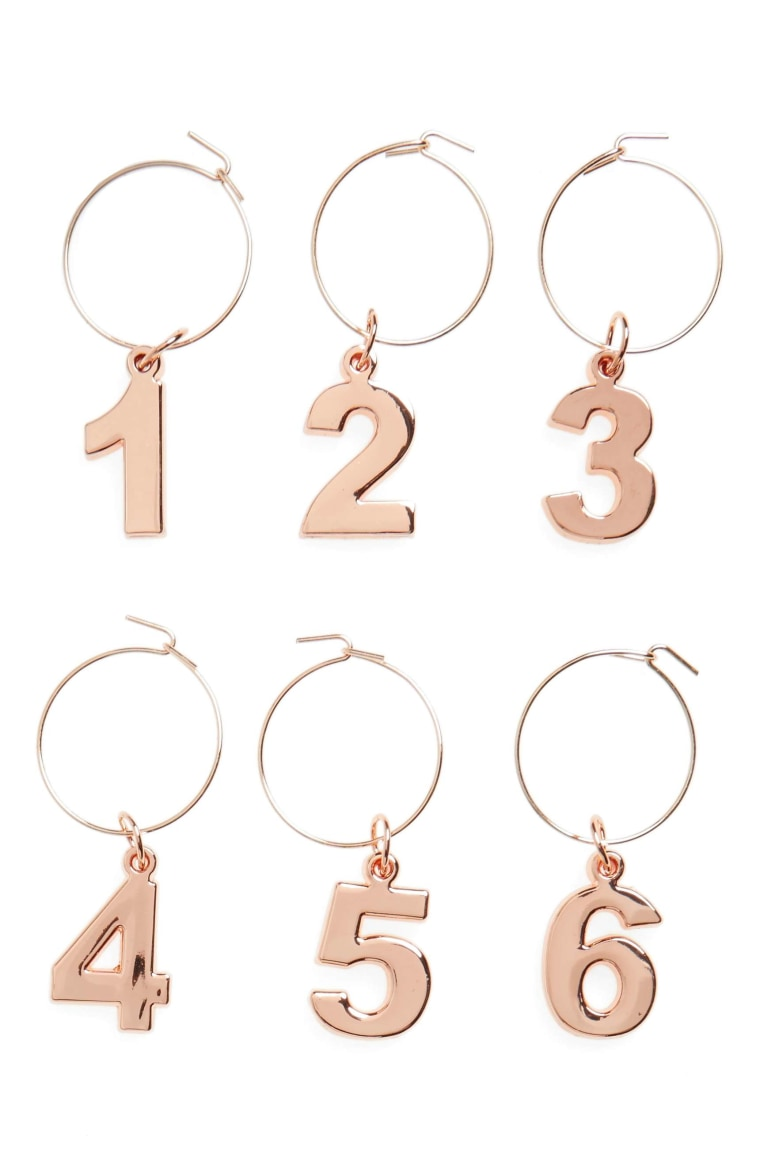 Set of 6 Gold Wine Charms