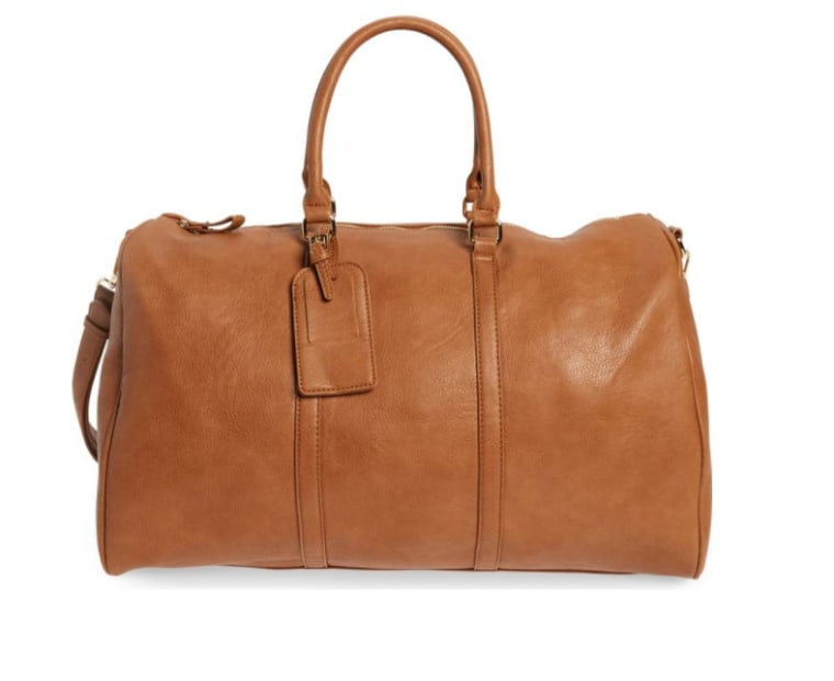 Faux tan leather tote