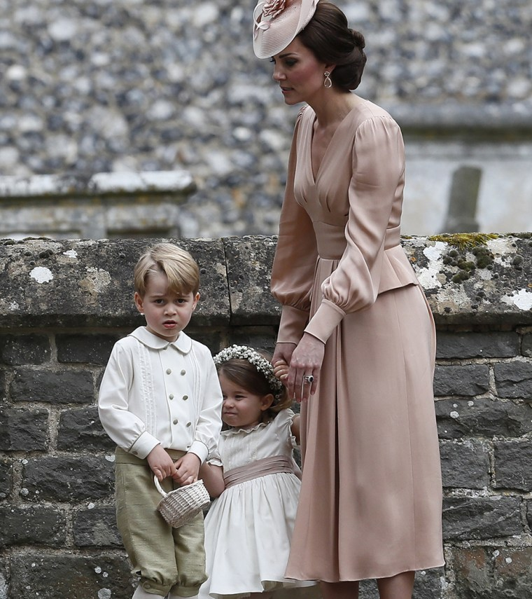 Princess Charlotte and Prince George with their mom, Kate, Duchess of Cambridge