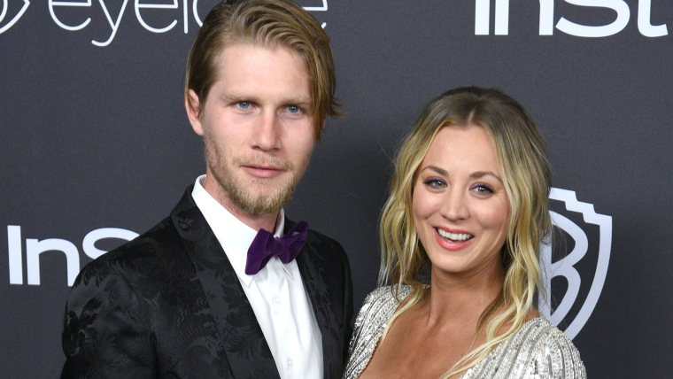 Kaley Cuoco and Karl Cook at post-Golden Globes party