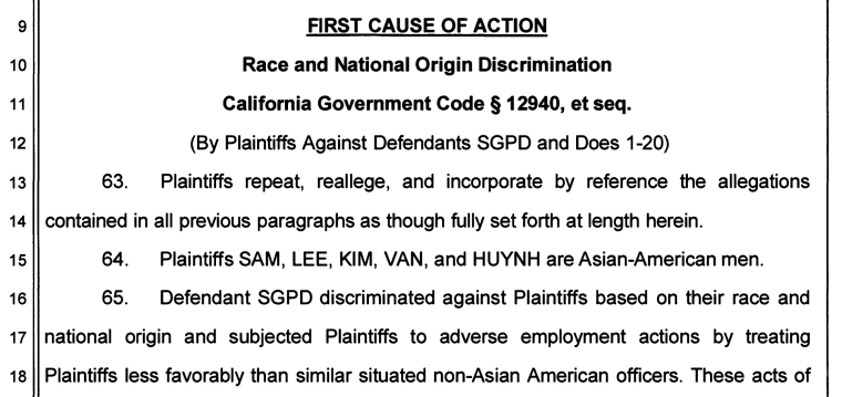 An excerpt of a lawsuit detailing allegations against the San Gabriel Police Department.