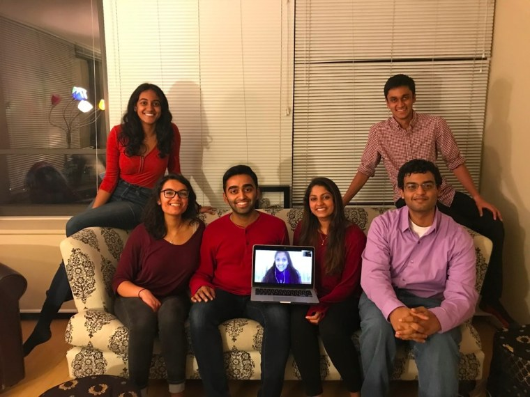 "From left: Dhivya Sridar., Nikita Saladi, Archit Baskaran, Ragashree Komandur, Aishwarya Chenji, Mohan Ravi, and Shyam Mani - co-founders of ""I-AM SHAKTI."""