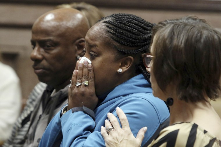 Katrina Johnson becomes emotional at the South Lee County Courthouse in Keokuk, Iowa after the jury returned a guilty verdict for Jorge Sanders-Galvez in the death of Johnson's transgender child, 16-year-old Kedarie Johnson. At least 25 transgender Americans have been homicide victims as of mid-November 2017, the highest annual total this decade, according to advocacy groups that have been monitoring the grim phenomenon and seeking ways to reduce the toll.