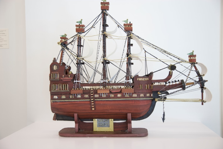 Image: A model ship by Moath Al-Alwi is made out of cardboard and based on photos of 19th century ships