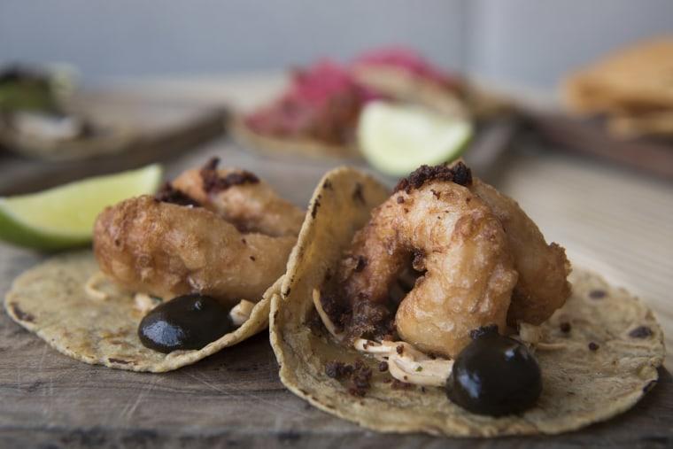Fried shrimp tacos from Alta Calidad