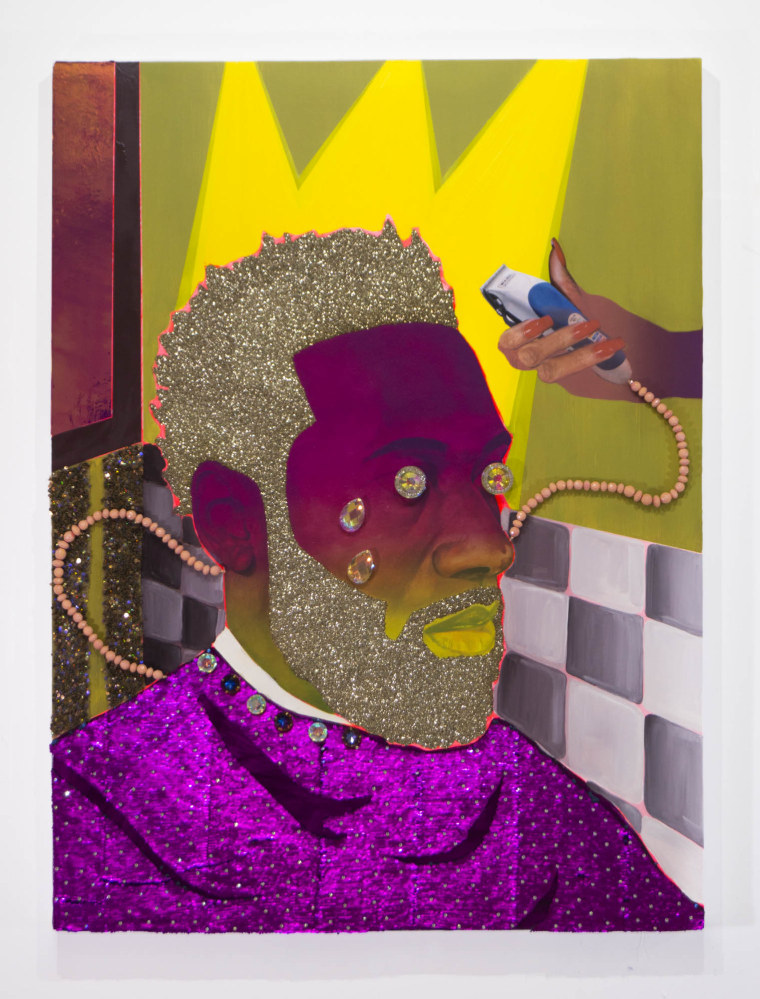 """Crowned"" by Devan Shimoyama is part of the artist's ""Sweet"" exhibition at New York's De Buck Gallery"