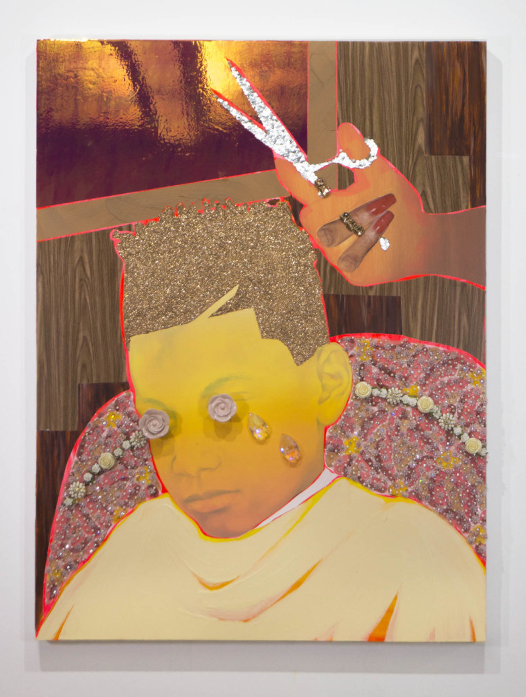 """Hush"" by Devan Shimoyama is part of the artist's ""Sweet"" exhibition at New York's De Buck Gallery"