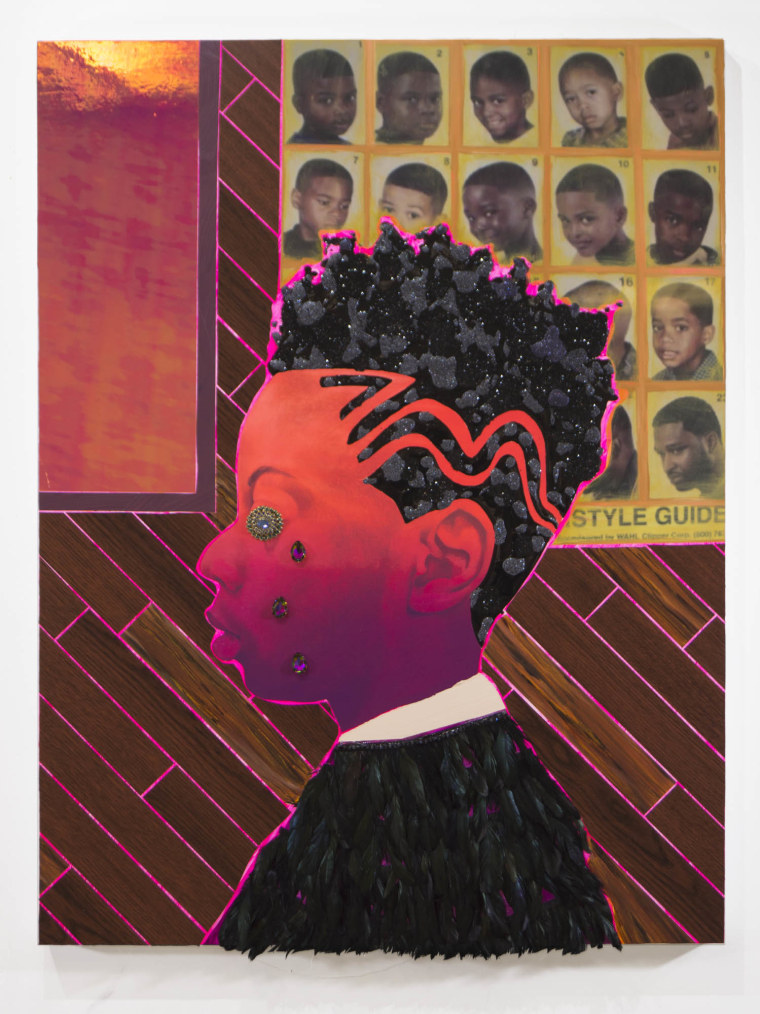 """Off the Charts"" by Devan Shimoyama is part of the artist's ""Sweet"" exhibition at New York's De Buck Gallery"