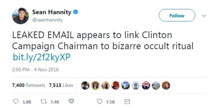 Hannity occult tweet
