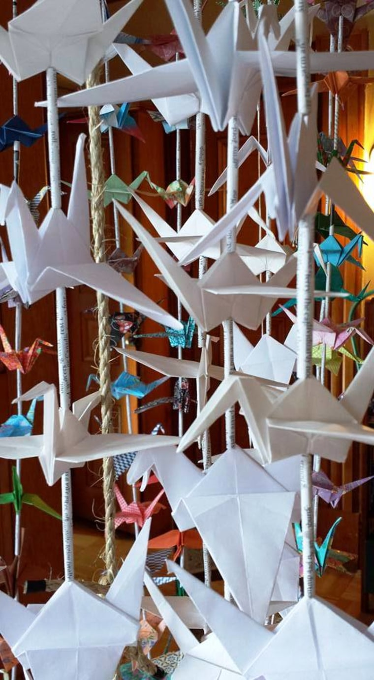 Cranes hang in the Planned Parenthood of the Rocky Mountains lobby.