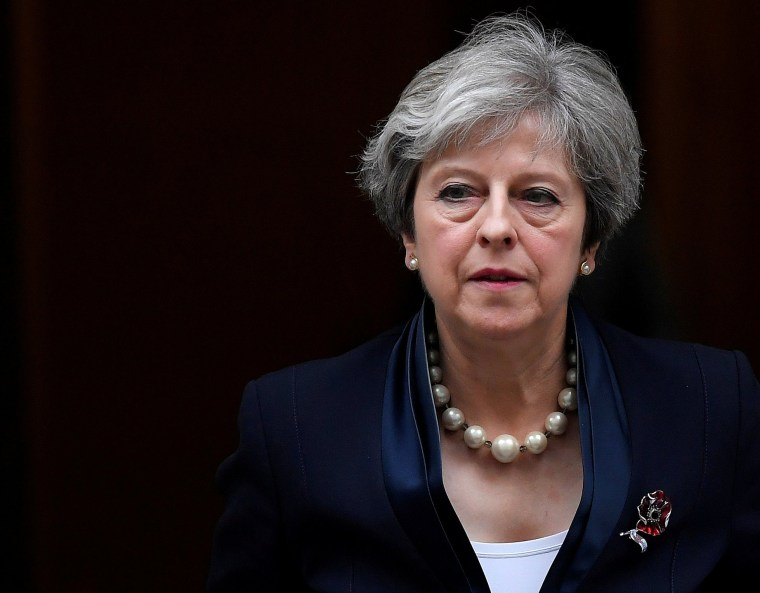 Image: Britain's Prime Minister Theresa May leaves 10 Downing Street in London
