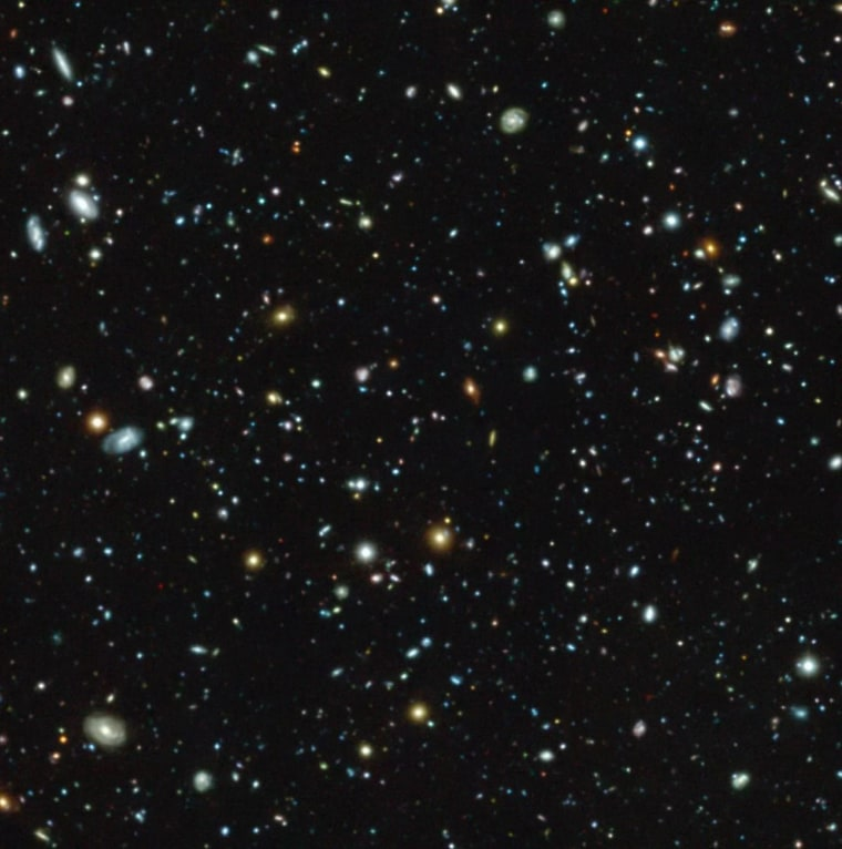 The European Southern Observatory's Muse instrument on the Very Large Telescope in Chile captured this view of galaxies in a region of sky included in the Hubble Space Telescope's Ultra Deep Field survey.