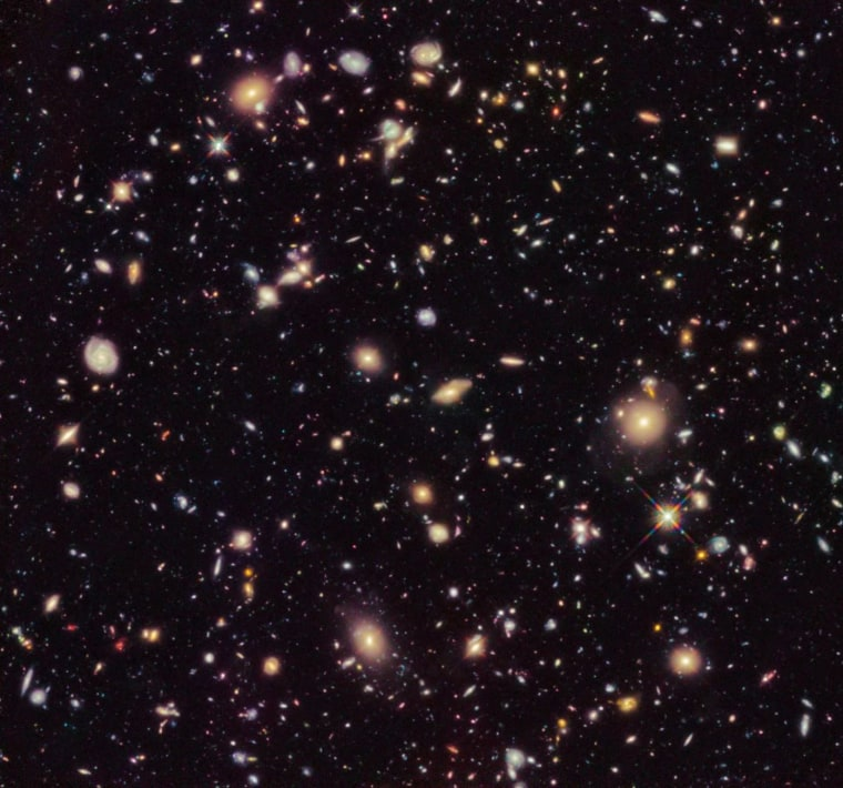 This image shows an improved version of the Hubble Ultra Deep Field from 2012 as seen by the Hubble Space Telescope.