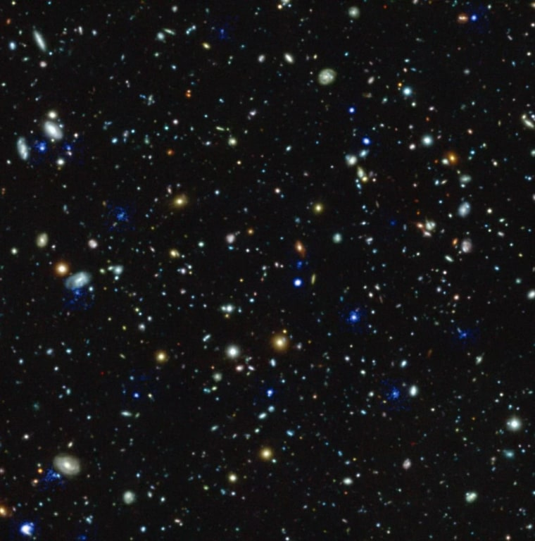 This compound image of the Hubble Ultra Deep Field region depicts glowing halos of gas around galaxies discovered by the Muse instrument on the European Southern Observatory's Very Large Telescope.