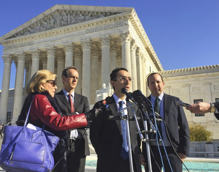 Image: American Civil Liberties Union attorney Nathan Wessler speaks outside the Supreme Court