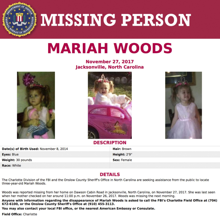 Image: The FBI's missing persons poster for Mariah Kay Woods.
