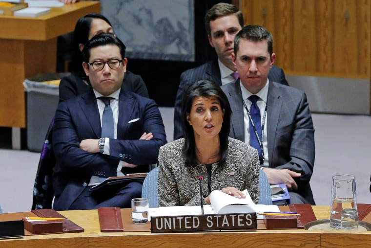 Image: United States ambassador to the United Nations (UN) Nikki Haley speaks during a meeting of the UN Security Council to discuss a North Korean missile launch at UN headquarters in New York