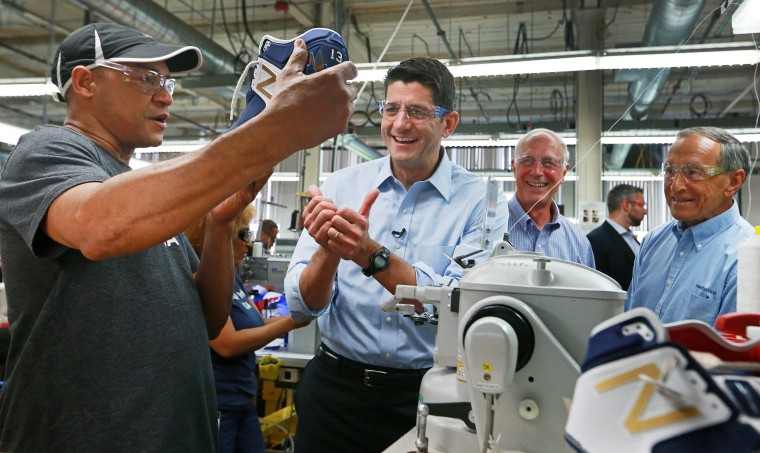 Speaker Of The House Paul Ryan Visits New Balance Factory