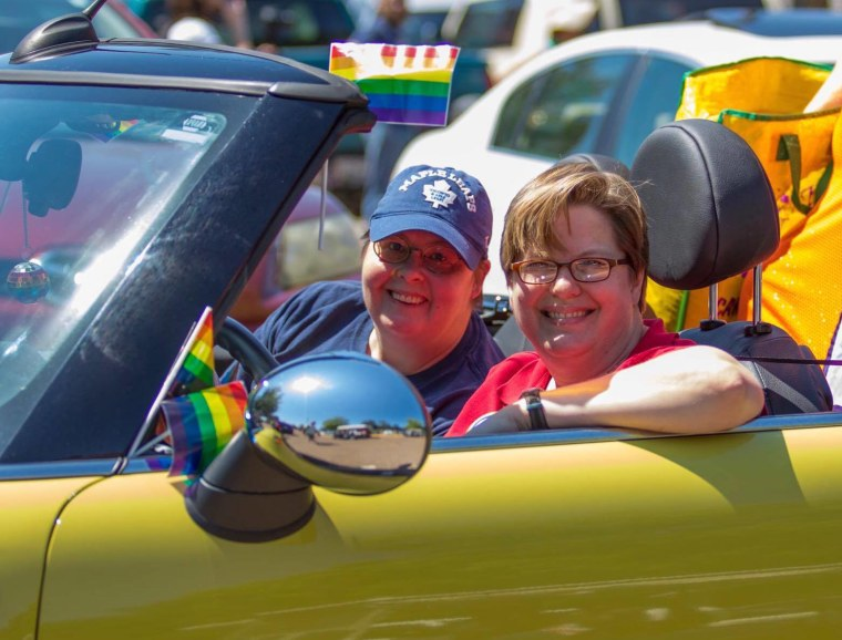 Jaime Harker, right, with her wife, Dixie, at the Oxford, Mississippi, gay pride parade.