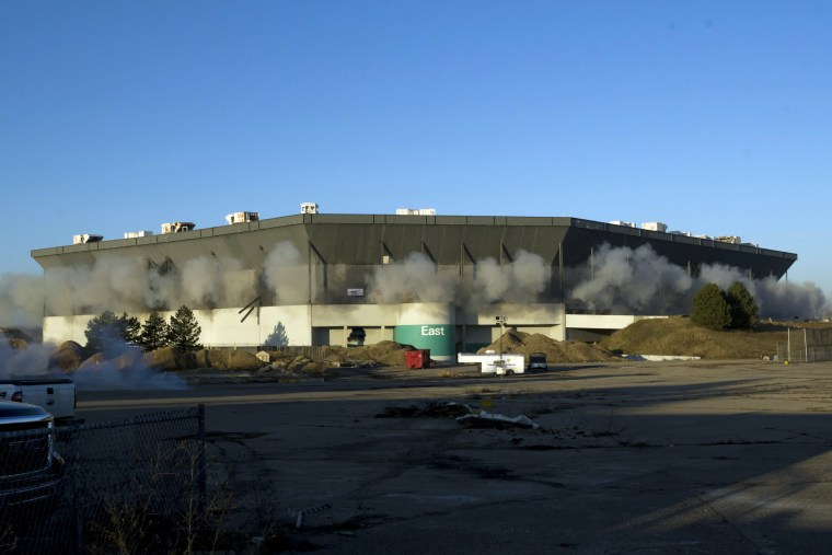 Image: Detonations are seen during an attempted implosion of the Silverdome in Pontiac