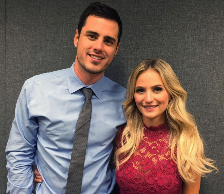 "FILE - In this March 15, 2016, file photograph, Ben Higgins and Lauren Bushnell pose for a photo in New York. Higgins proposed marriage to Bushnell in the season finale of ABC's ""The Bachelor."" Higgins, the most recent star of ABC's ""The Bachelor,"" announced Friday, July 22, 2016, he had abandoned a campaign for public office in Colorado, just two days after filing the required paperwork to run. (AP Photo/Alicia Rancilio, file)"