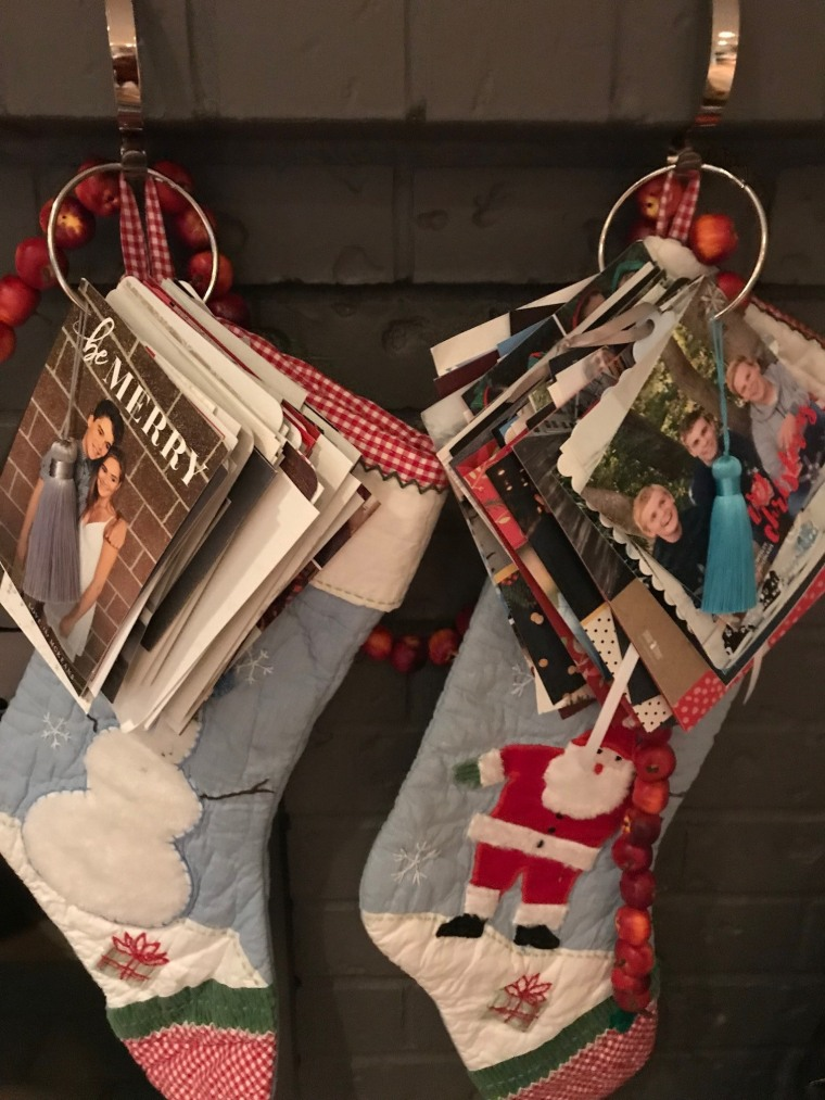 The Holiday Card Ring can be hung on a stocking hook to dress up your mantle.