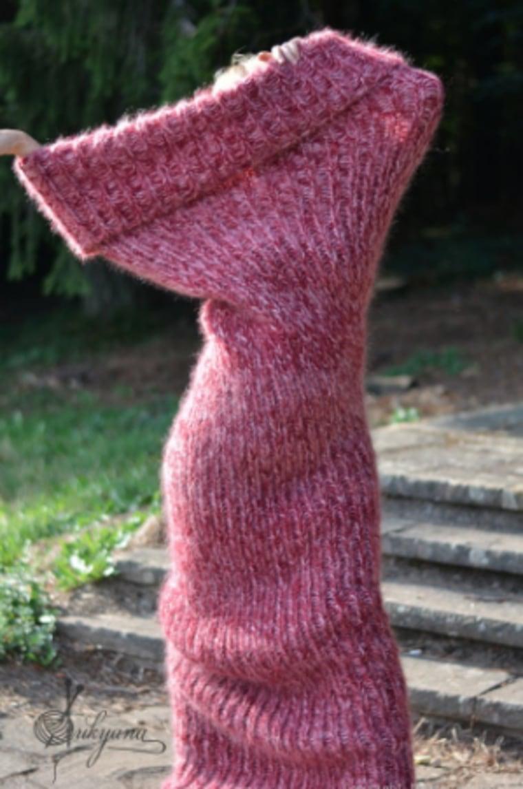 Chunky mohair tube scarf